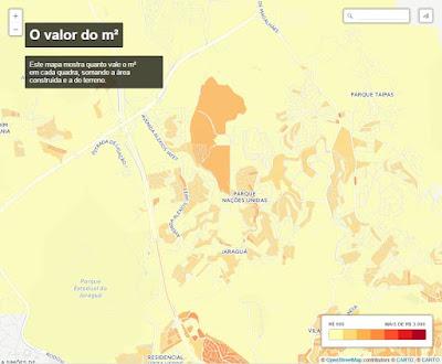 Valor do metro quadrado no bairro Jaraguá (quanto mais escuro, mais caro)