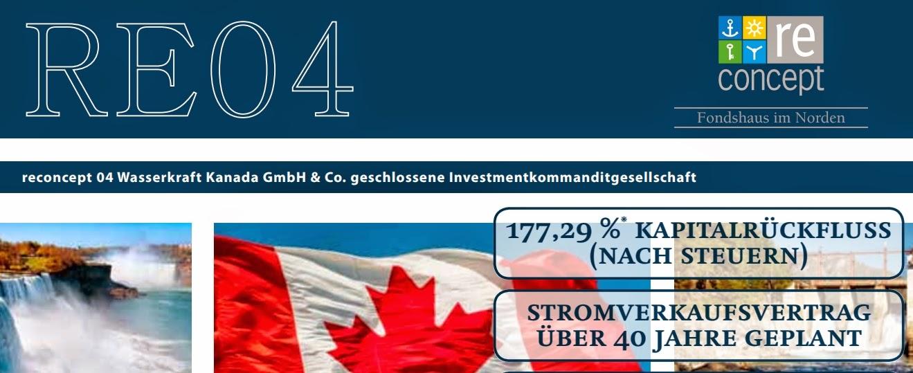 reconcept re04 wasserkraft kanada umweltfonds investmentfonds aif 2014 zeichnungsschein