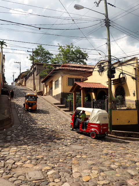 Cobbled streets and tuk tuks in Copan, Honduras