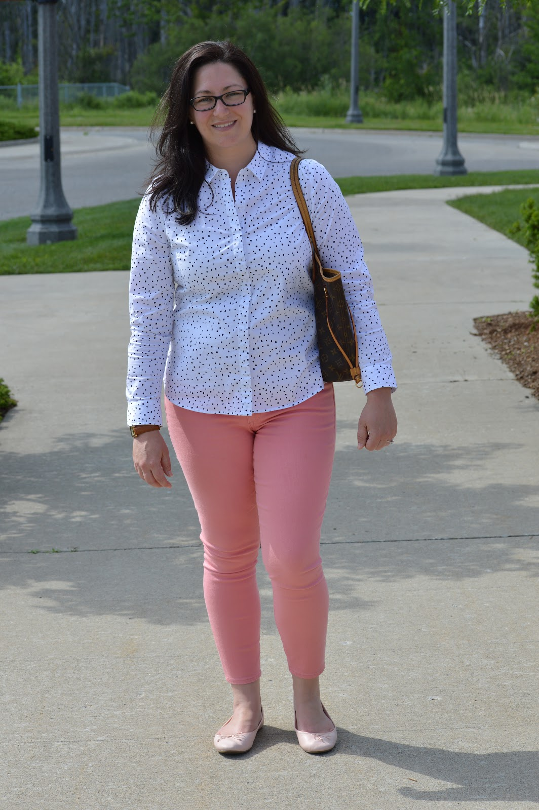 pink jeans for work