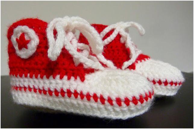 zapatos crochet converse patucos lana