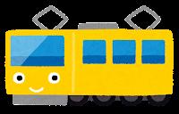 電車のキャラクターのイラスト(黄色)