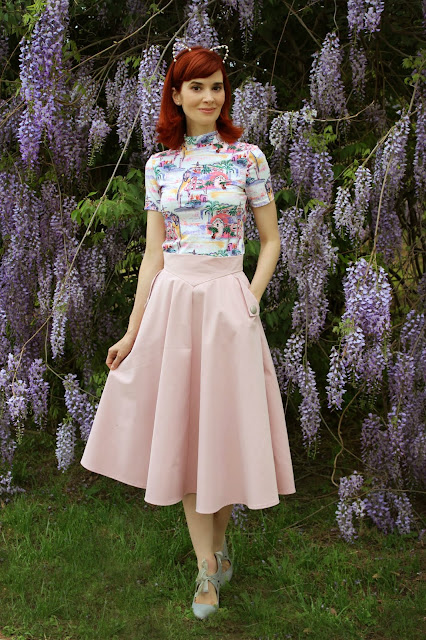 Mock Neck Landscape Print Tee From SheIn and Classic Simplicity A Line Midi Skirt in Pink from ChicWish