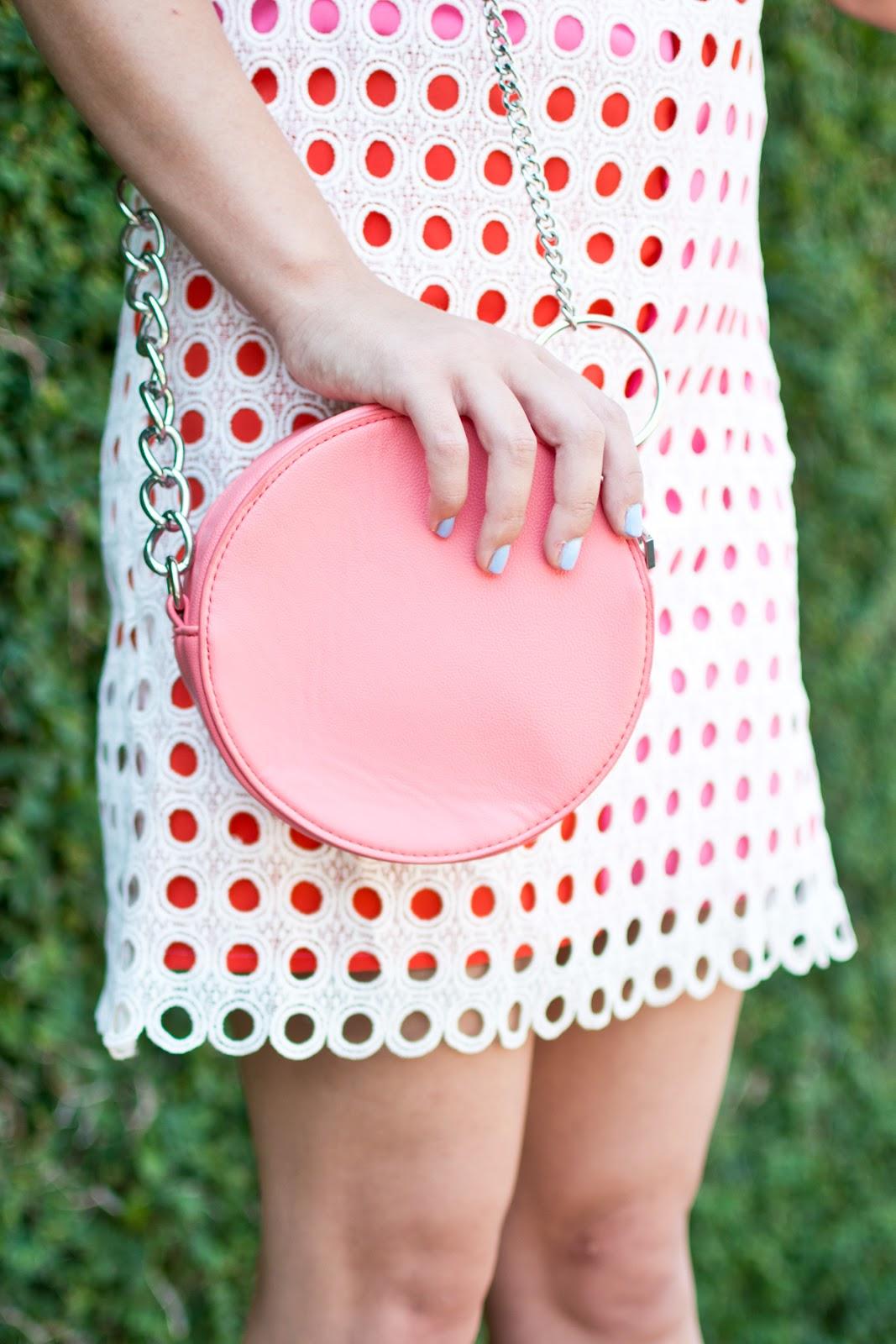 Asos pink circle crossbody back, retro colorblock shift dress modcloth