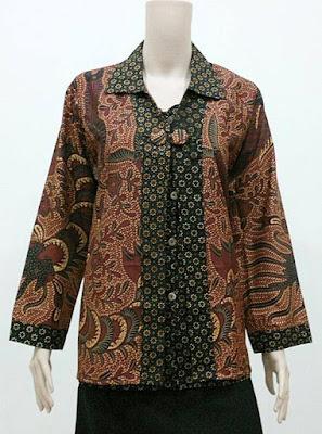 Model Baju Batik Kerja Guru Lengan Panjang Perempuan