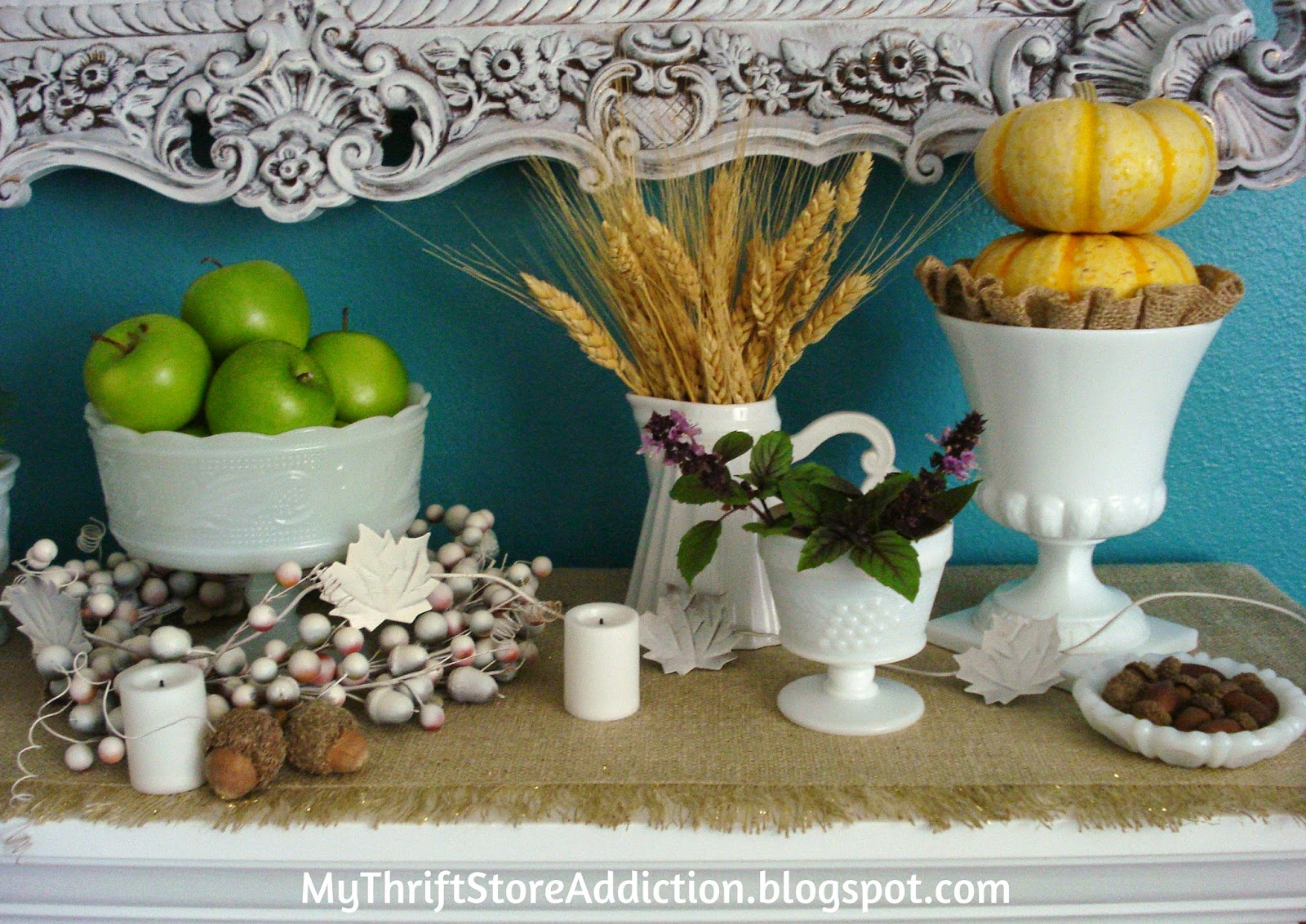 Autumn Harvest Botanical Mantel mythriftstoreaddiction.blogspot.com Grocery store produce like green apples, wheat and mini pumpkins can create a beautiful fall mantel and save money