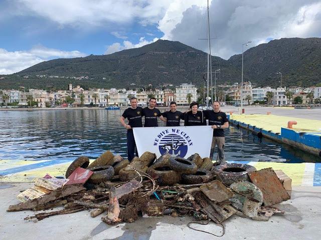 400 κιλά απορρίμματα από το βυθό των Μεθάνων ανέσυραν οι δύτες της οργάνωσης «WE DIVE WE CLEAN»