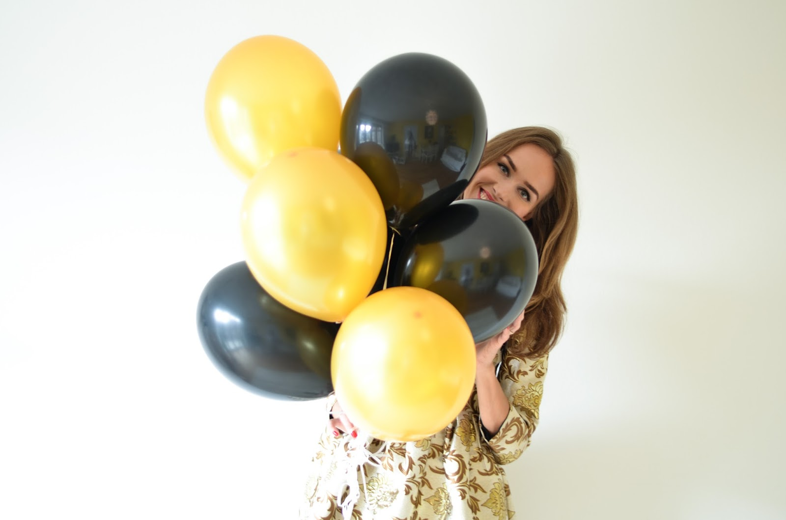kristjaana mere 27th birthday gold black balloons