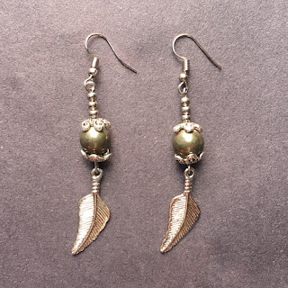 Pyrite Bead Dangle Earrings