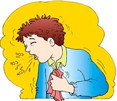 Dibujo de una persona con tos o toceando a color