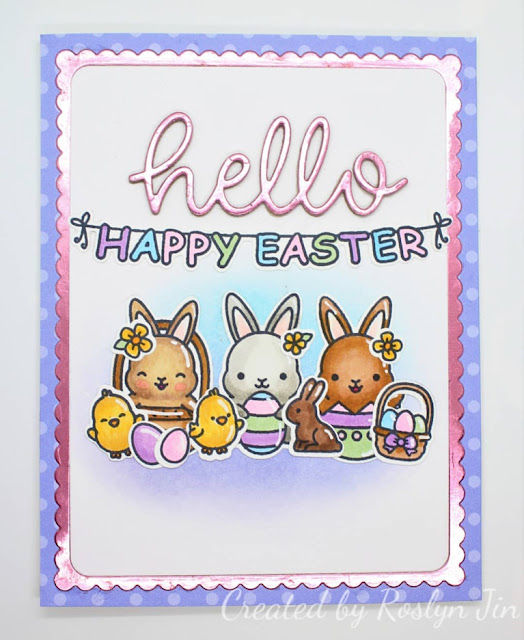 Sunny Studio Stamps: Chubby Bunny Hello Word Die Customer Card Share by Roslyn Jin