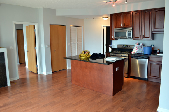 Apartment Tour: Our open and spacious kitchen with awesome kitchen island.