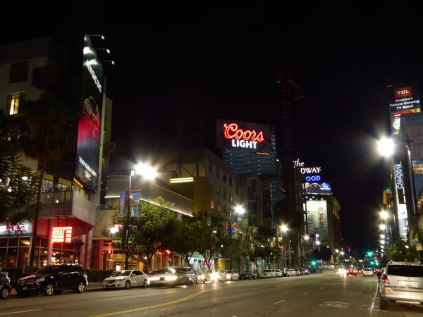 Coors Light neon sign billboard Hollywood nighttime