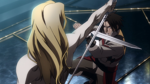 television series Castlevania - Alucard sword fighting with Trevor Belmont