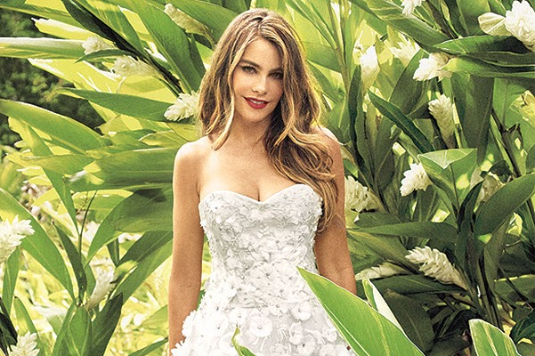 Sofia Vergara in a wedding dress on the pages of the magazine Martha Stewart