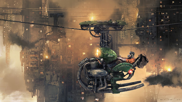 Sci Fi dieselpunk concept art. Suspended cable-car motorcycle by J. Otto Szatzmari