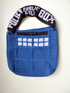 crochet doctor who tardis police box bag