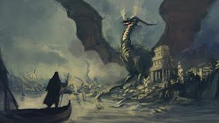 Mago subido en su barca con un dragón negro al fondo sobre una ciudad en ruinas.