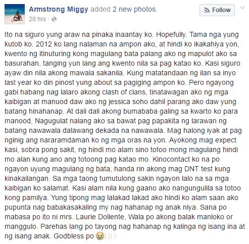 Armstrong Miggy Facebook post