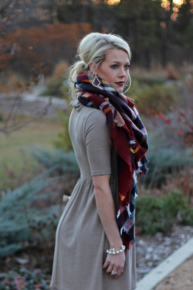 e572bdf5d7ea Thanksgiving Outfit Idea. DRESS: The Amherst House (similar here, here and  here) | SCARF: Purple Peridot | BOOTS: Antonio Melani (similar here, ...