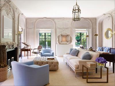 Bruce Budd Design blue and white living room