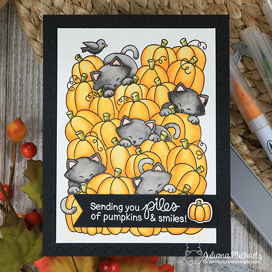 Cats in Pumpkin Patch Card by Juliana Michaels | Newton's Pumpkin Patch Stamp Set by Newton's Nook Designs #newtonsnook