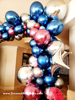 Organic balloon arch rose-gold & chrome blue