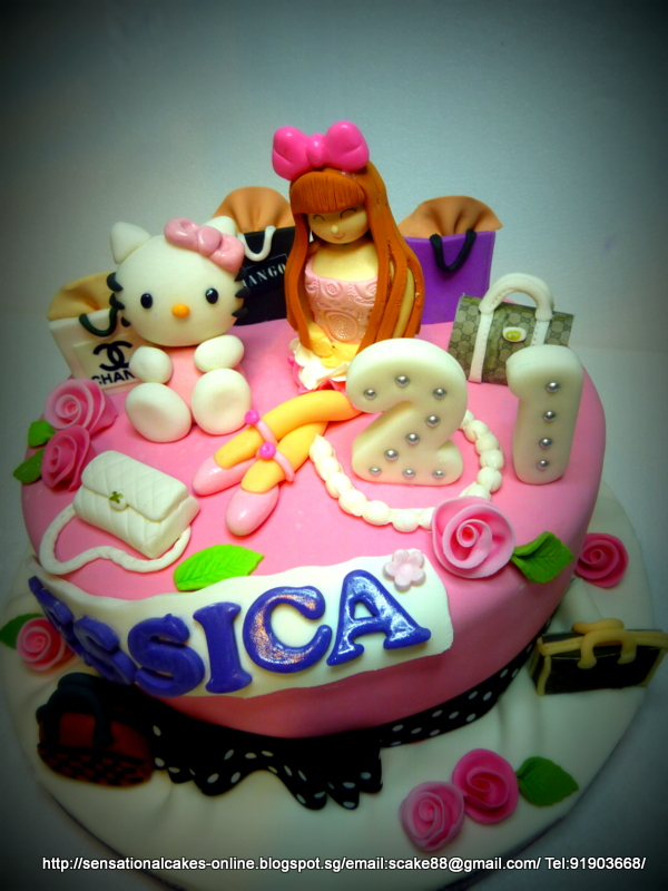 The Sensational Cakes Pink Shopaholic Cake Singapore