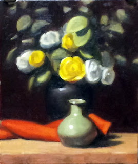 Oil painting of white and yellow plastic flowers in a vase, with a piece of red cloth and a smaller green vase in front.