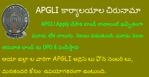 APGLI District Office Address, Contact Phone Numbers, Slab Rates