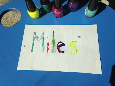 Name in Nail Polish for Preschool Review game colorful activity