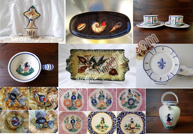 Vintage Breton Art Pottery, French Brittany folk Henriot, Plate Wall Hanging and Tableware