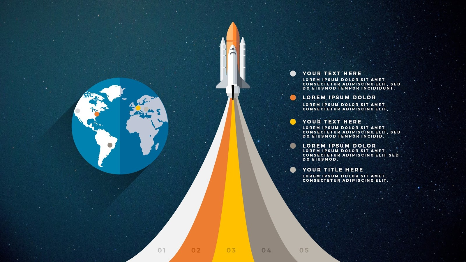 free powerpoint template with rocket infographics