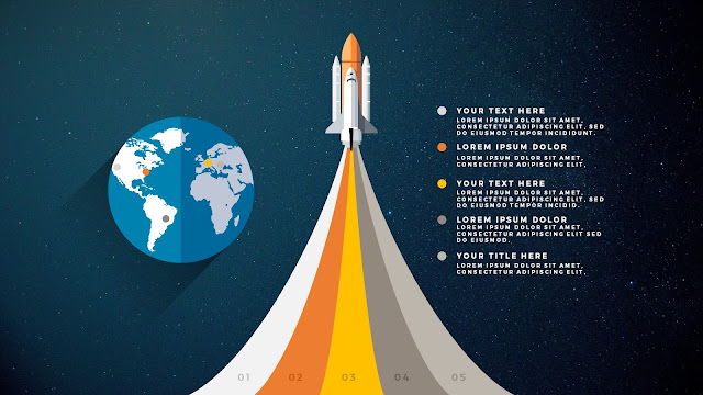 Free PowerPoint Template with Rocket Infographics and Curved Banners