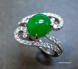A charming Jade Diamond Engagement Ring