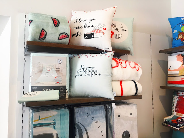 cushions on shelf