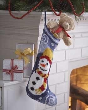 Free Christmas Knitting Patterns: SNOWMAN CHRISTMAS STOCKING