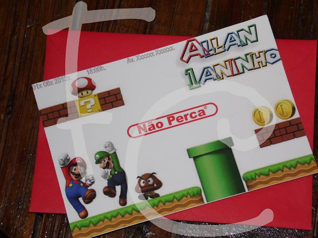 Convite de Padrão - Tema: Mario Bros