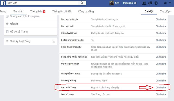 cach gop 2 fanpage thanh 1