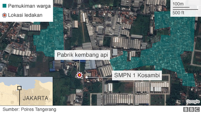 peta lokasi ledakan