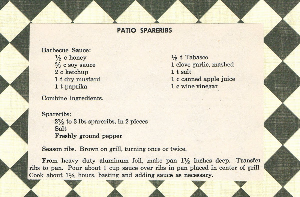 Patio Spareribs (quick recipe)