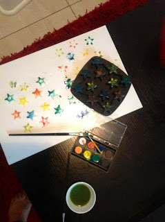 This was Ria's first activity as a toddler when she turned 18months old. This is an easy craft for 18 months olds and a good way to introduce colors to toddlers.