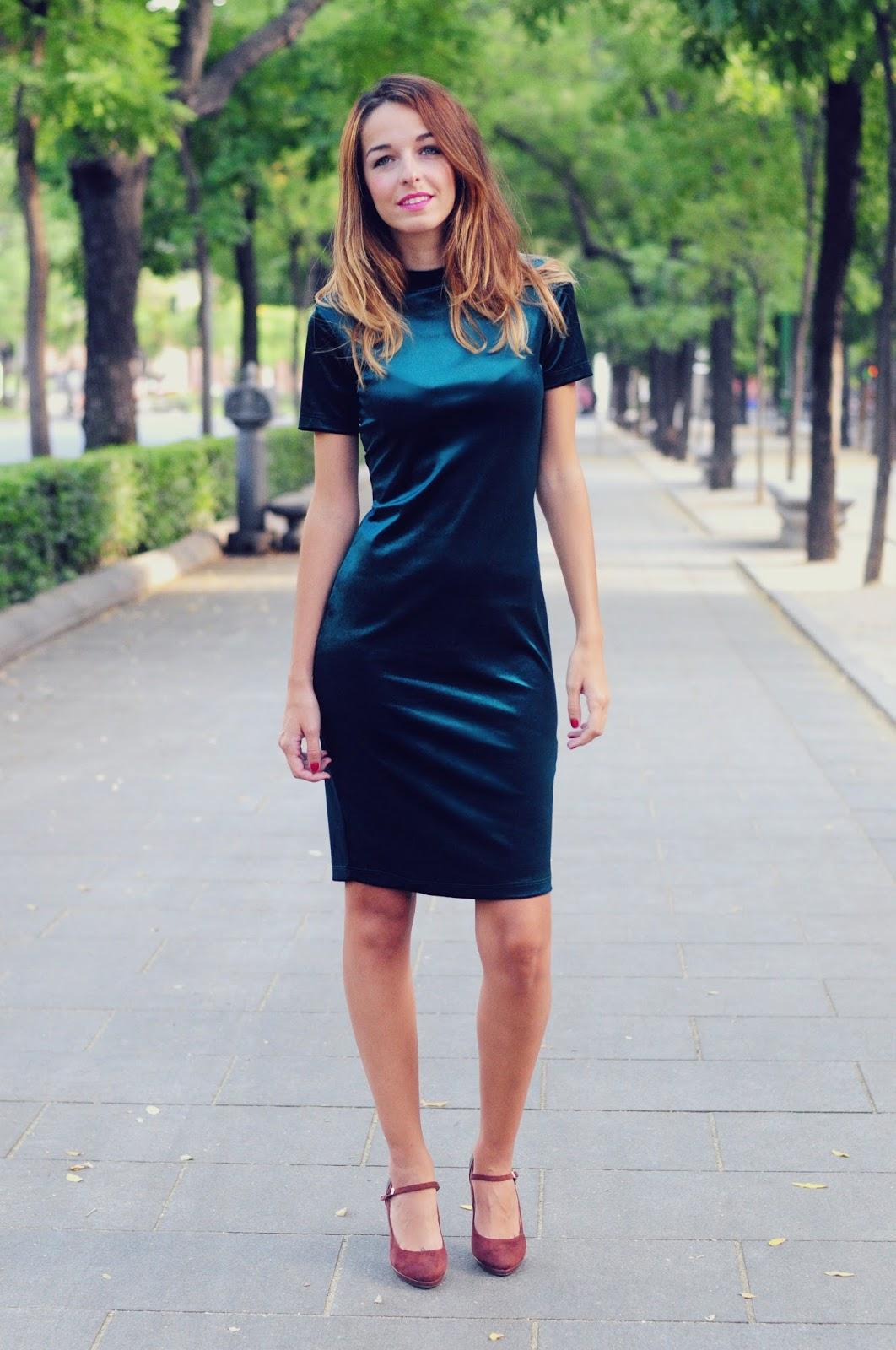 Vestido terciopelo verde zara