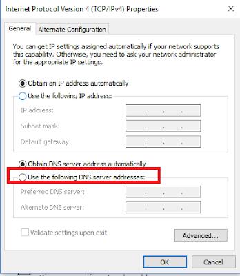 Change Default DNS to Google DNS