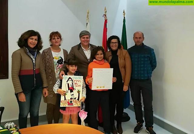 Los niños Amelia Aguiar y Javier Leal ganan el concurso escolar de tarjetas navideñas y cartas a los Reyes Magos convocado por el Ayuntamiento de Los Llanos de Aridane