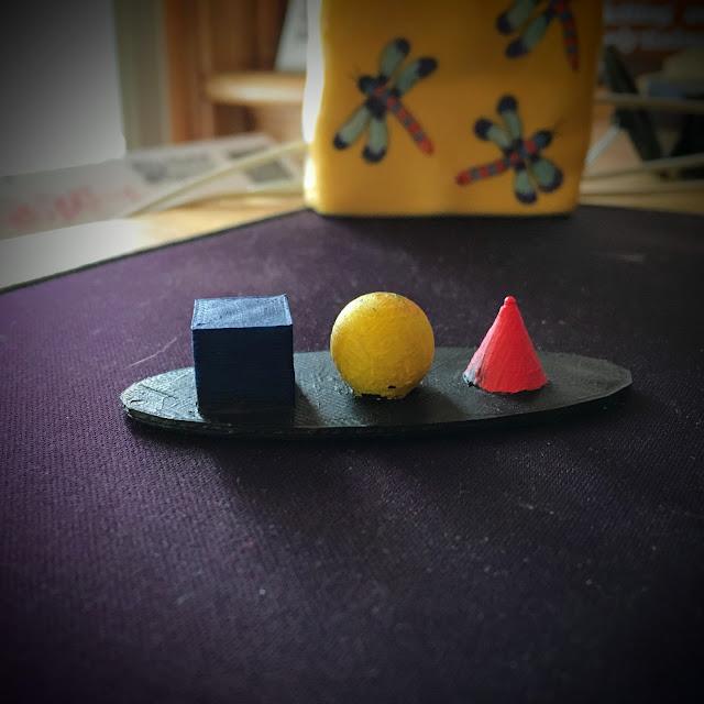 3D printed cube, sphere, cone via foobella.blogspot.com