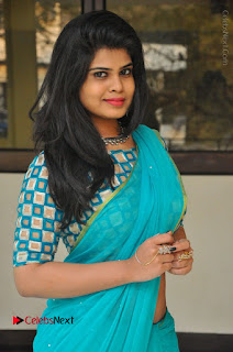 Telugu Actress Alekhya Stills in Green Saree at Swachh Hyderabad Cricket Press Meet  0012.JPG