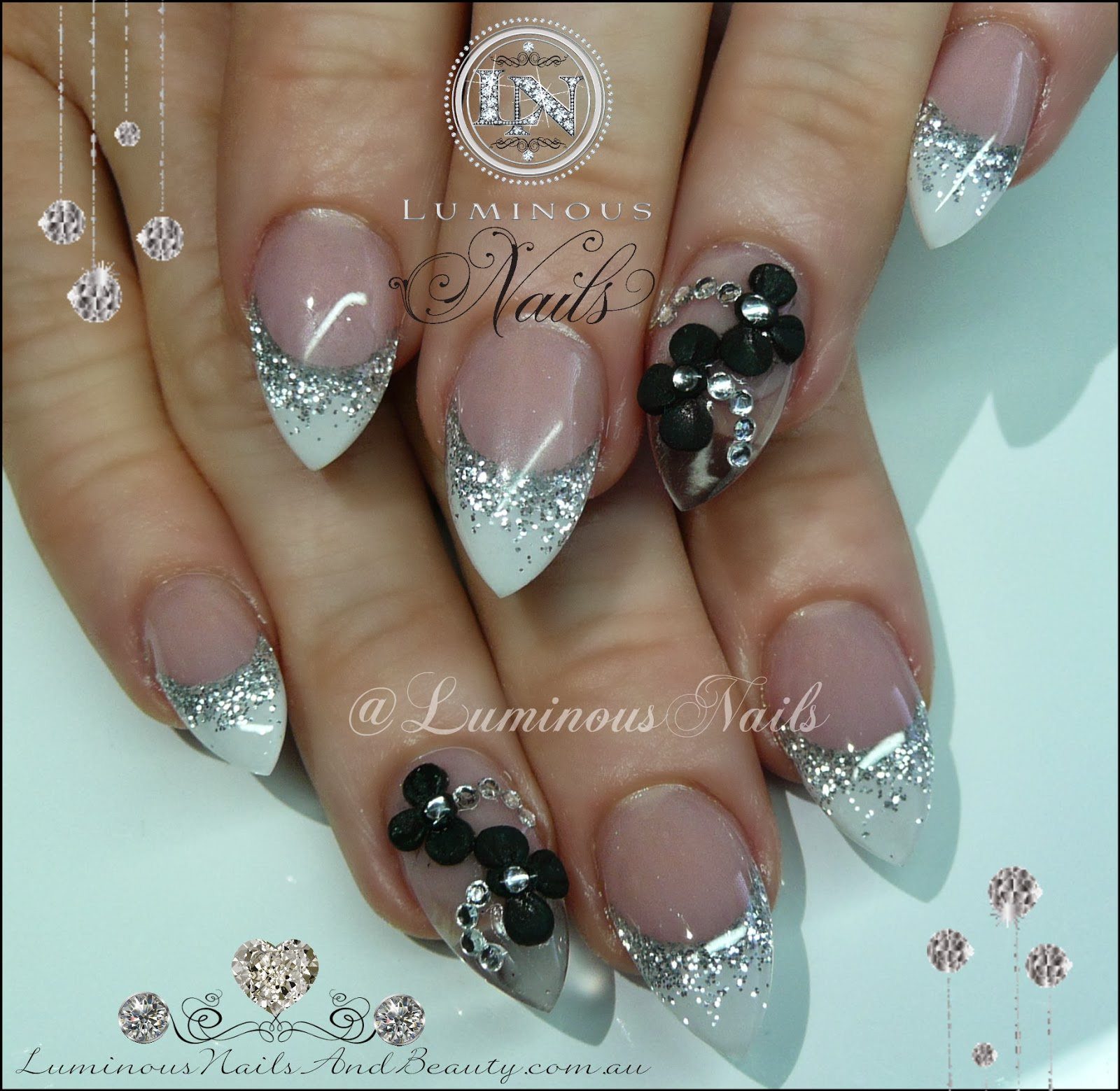white amp silver nails cleartranslucent feature nail with