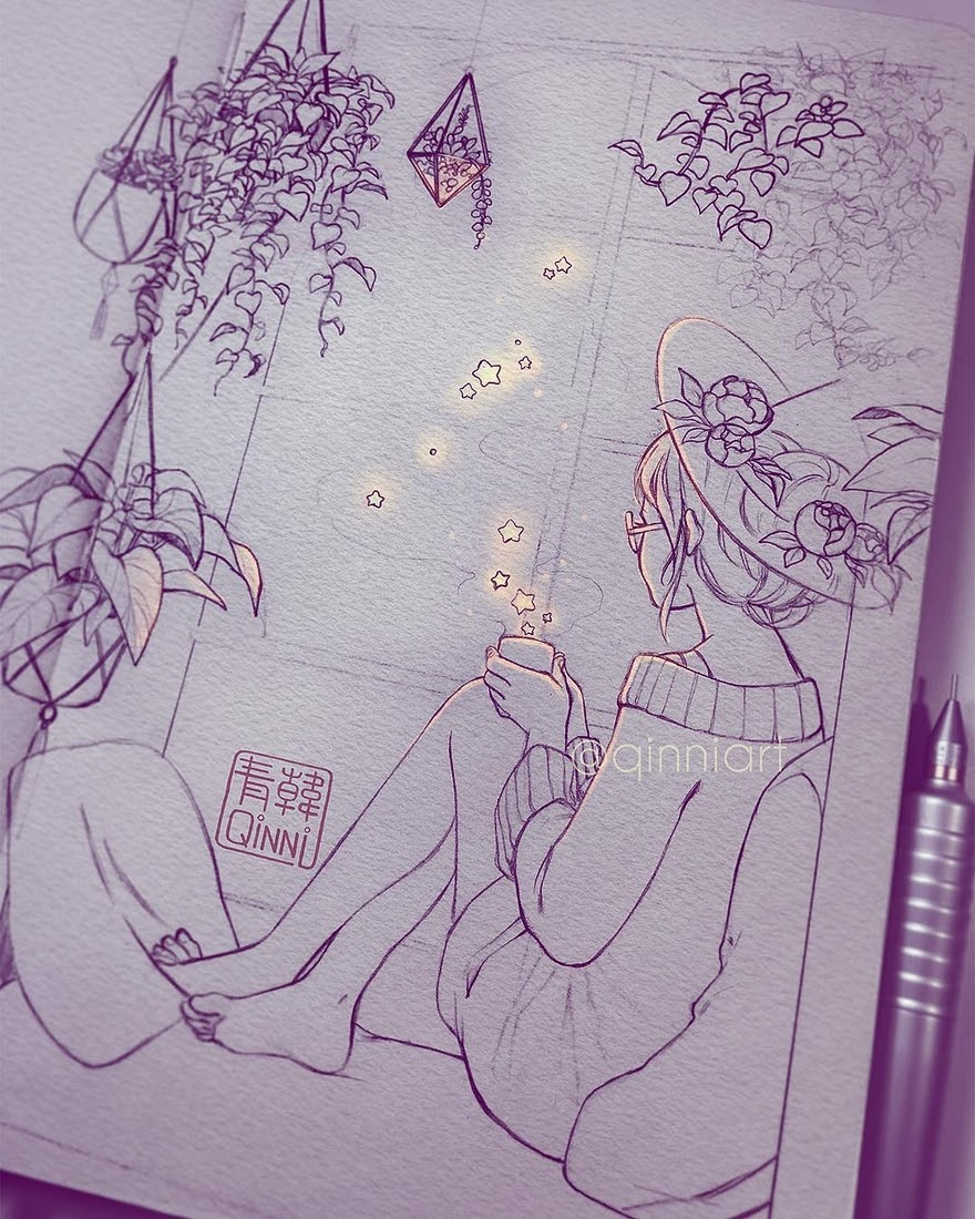 04-Rainy-nights-and-starry-teas-WIP-Qing-Han-韩青-Fantasy-illustrations-Drawn-with-Imagination-www-designstack-co