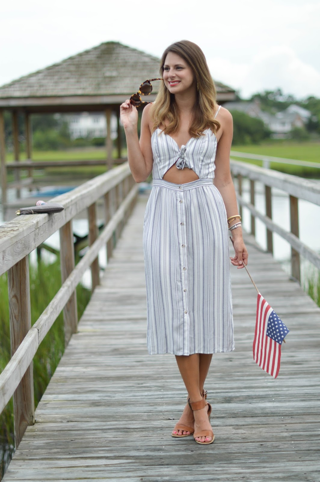 striped midi cutout dress / 4th of July style / Southern Style